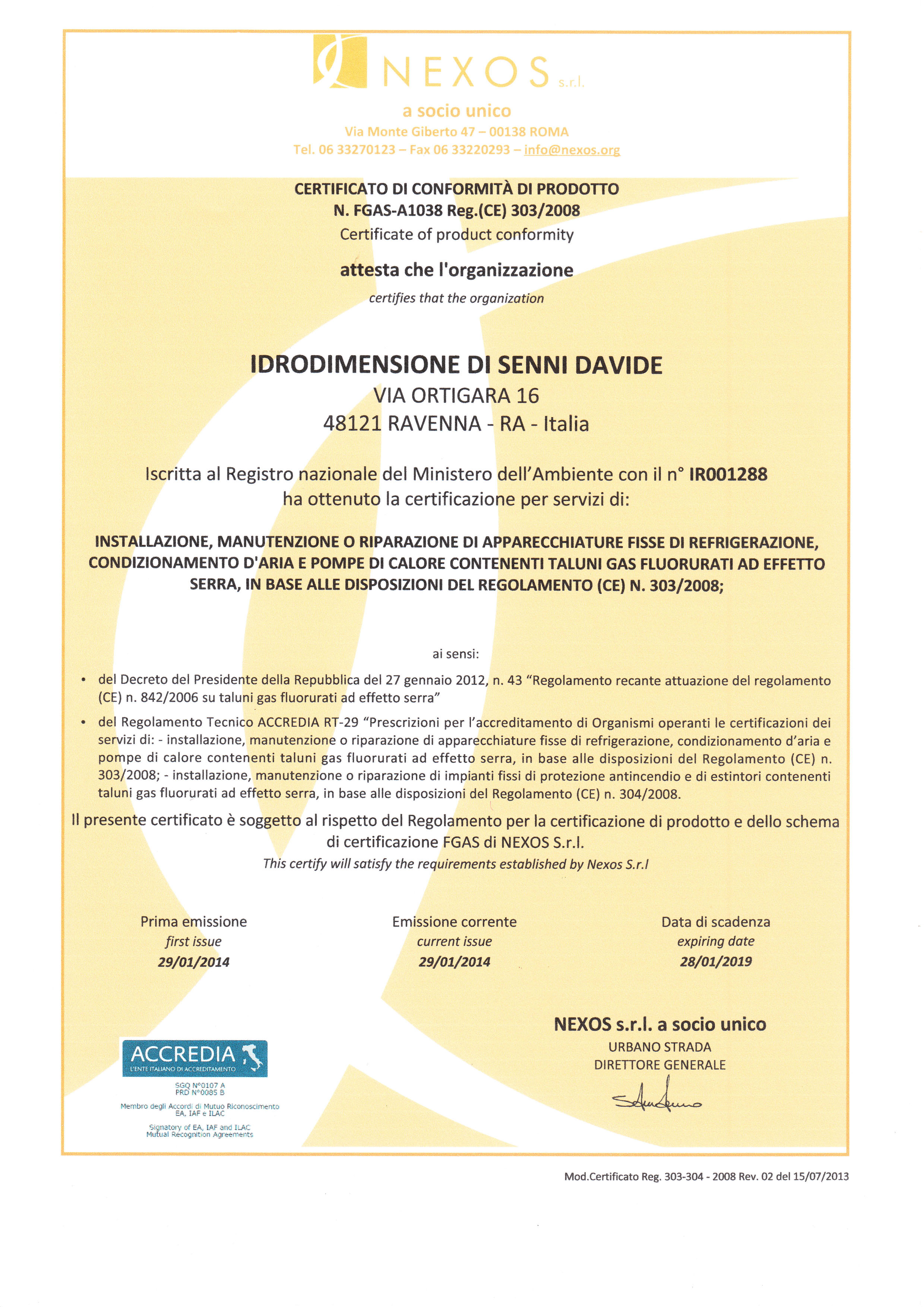 Idrodimensione di Senni Davide Certificazione